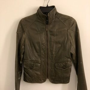 Kenneth Cole Olive Green Leather Jacket XS